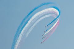 Air show. Acrobats in formation Royalty Free Stock Photo
