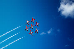 Air show. Display precision formation aircraft flying Royalty Free Stock Photography