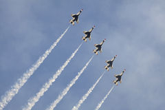 Air Show. US Air Force Thunderbirds performing at the Atlantic City Airshow called Thunder Over The Boardwalk, The Thunderbirds are the United States Air Force royalty free stock images