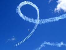Air Show. Airplanes in the air show go through their formations in the sky as a bird follows Royalty Free Stock Images