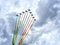 Air show aerobatic italian team stock image