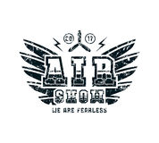Air show emblem. Graphic design for t-shirt. Black print on white background Stock Image