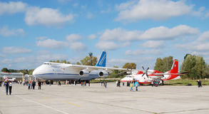 Air show in Gostomel. Antonov's airplanes at the sixth International Air-Space Show Aviasvit-XXI October 25 - 29, 2008 in Gostomel, Ukraine Stock Photo