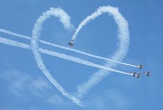 Air show heart loop. Miami FL USA Stock Images