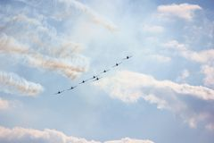 AIR SHOW. Of Military Acrobats Royalty Free Stock Image