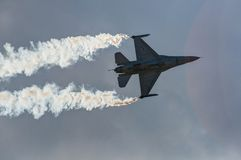 Air show plane. An F16 figher plane at the Athens air show, 2014, Greece Stock Photo