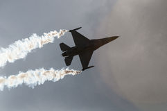 Air show plane. An F16 figher plane at the Athens air show, 2014, Greece Royalty Free Stock Images