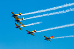 Air show planes formation - traces on sky Royalty Free Stock Image