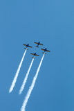 Air show planes formation - traces on sky Royalty Free Stock Photography
