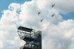 Free Air Show Polish Airplanes And Helicopters Procession In Katowice, Poland Stock Image - 186563121