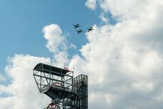 Free Air Show Polish Airplanes And Helicopters Procession In Katowice, Poland Royalty Free Stock Photography - 186563297