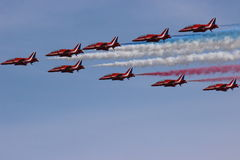 Air Show. The Red Arrows team of the Royal Air Force Royalty Free Stock Photo