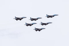Air show in the sky above the Krasnodar airport flight school. Airshow in honor of Defender of the Fatherland. MiG-29 in the sky. Royalty Free Stock Photography