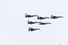Air show in the sky above the Krasnodar airport flight school. Airshow in honor of Defender of the Fatherland. MiG-29 in the sky. Royalty Free Stock Photos