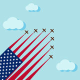 Air show on the skye for celebrate the national day of USA. Celebration Stock Photo
