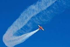 Air show. Small airplane in an air show in Cluj-Napoca, 18/05/2013, Romania Stock Photo
