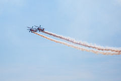 Air show with smoke. Royalty Free Stock Images