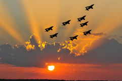 Air show sunset Stock Photography