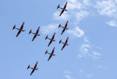 Air show of Swiss acrobatic fly team at Lugano Stock Images