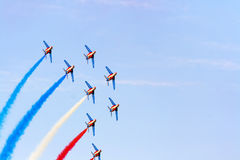 Air show team. The fly by of Patrouille de France acrobatic aircraft team during the  International Air Show   on 28.08.2011 in Radom, Poland Stock Photo