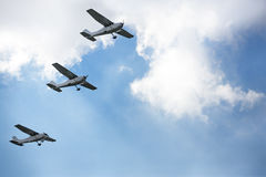 Air show, three airplane flying together Royalty Free Stock Photo