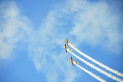 Air Show. Three planes flying toghetger on an air show Royalty Free Stock Images