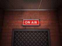 On air sign above the door of a broadcast room. 3D illustration.  stock illustration