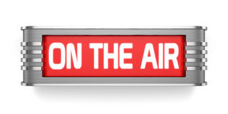 ON THE AIR sign. 3d render of ON THE AIR sign on white background Vector Illustration