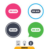 On air sign icon. Live stream symbol. Report document, information sign and light bulb icons. Vector Stock Image