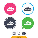 On air sign icon. Live stream symbol. Report document, information sign and light bulb icons. Vector Stock Photo