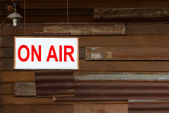 On Air Sign. With old wooden wall background royalty free stock images