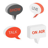 On Air sign, talk show symbol. Live cast 3d vector bubbles. Isometry box speech tags Royalty Free Stock Images