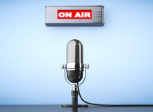 On Air Sign with Vintage Microphone Stock Image