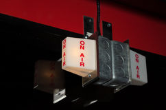 On-air signs lit up royalty free stock images