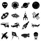 Air and space icons. Set of  icons. Air transport, flying machines and space Stock Photography