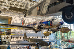 Air and Space Museum Washington DC. Aircraft hang from the ceiling inside national air and space Smithsonian museum Washington dc Royalty Free Stock Photos