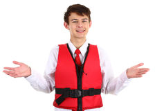 Air stewardess with life jacket Royalty Free Stock Photography