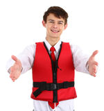 Air stewardess with life jacket Stock Photography