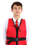 Air stewardess with life jacket Royalty Free Stock Image