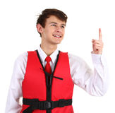 An air stewardess with a life jacket Royalty Free Stock Photography