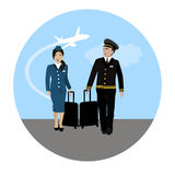 Air. Stewardess and pilot  on the runway Royalty Free Stock Images