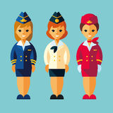 Air Stewardess, Stewardess in retro style. Service occupation characters woman set in flat style. Stock Photos
