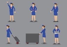 Air Stewardess Vector Icon Set Stock Photos