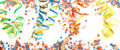 Air streamers and confetti background stock photo