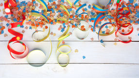 Air streamers and confetti background Stock Image