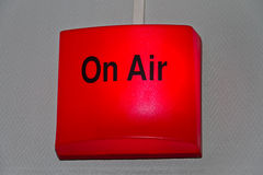 On-Air studio sign. Glowing with red light royalty free stock photography