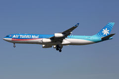 Air Tahiti Nui Airbus A340-300 airplane Los Angeles airport. Los Angeles, USA - February 21, 2016: An Air Tahiti Nui Airbus A340-300 with the registration F-OSUN Stock Images