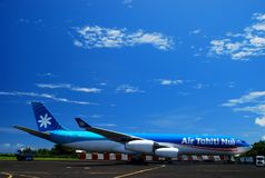 Air Tahiti Nui airbus A340-300.  Faa'a International Airport, Papeete. Tahiti, French Polynesia. Air Tahiti Nui is a French airline and is French Polynesia's Royalty Free Stock Photo
