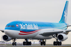 Air Tahiti Nui. PARIS, FRANCE - MARCH 29: Air Tahiti Nui Airbus A340-313 taxis around CDG Airport on March 29, 2010. Air Tahiti Nui is a French airline and is royalty free stock photos