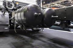Air tanks for brake system. Of truck stock photo